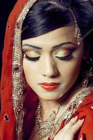 beautiful indian with bridal makeup stock image