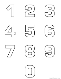 Printable Number Outlines 0 9 On One Page Bubble Numbers