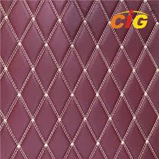 2019 embroidery quilted stitching pu pvc synthetic leather fabric for car seat for funiture