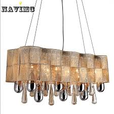 vintage chandelier european luxury modern lighting led k9 rectangular modern crystal chandelier for dinning room lights lamp hand blown glass pendant lights
