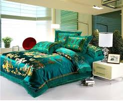 Luxurious Turquoise Bed Comforter Set With Gold Scheme Pattern Modern White  Bedside Table Drawers And Teal King Size Sets