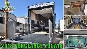 2018 toy hauler fifth wheel vengeance 295a18 extra large garage rv colorado