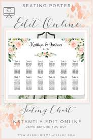 Wedding Seating Chart Poster Landscape 24x18 Blush Florals
