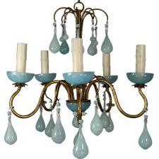 1 2424 a five light gilt metal and pale blue opaline murano glass chandelier