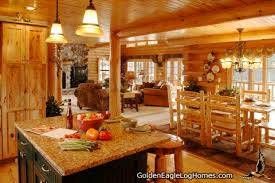 Open Floor Plan In Log Cabin House View Of Living Room And Open Log Home Floor Plans