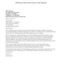Pharmacy Technician Sample Cover Letter Sample Cover Letter For