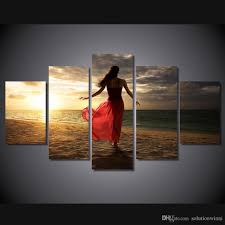 2018 5 panel hd printed sunset beach beauty beautiful woman back painting room decor print poster picture canvas wall decor from solutionwinni