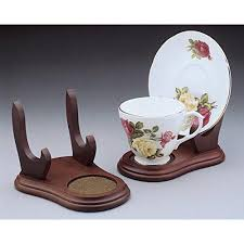 Tea Cup Display Stand Best Set Of 32 Stands Cup And Saucer Wood Display Stands Walnut Finish