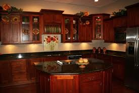 Plain Cherry Kitchen Cabinets Black Granite With Countertops Sarkem And Design Decorating