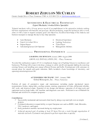 Auto Mechanic And Electrical Technician Resume Objective Vinodomia