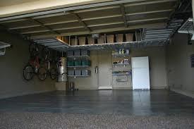Overhead garage storage with garage organization shelves with ceiling  mounted garage shelves