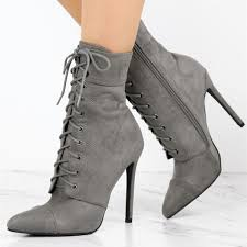 women s grey lace up boots suede chunky heels retro ankle boots image