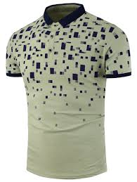 Geometric Print Color Block Polo Shirt Army Green Xl In T Shirts