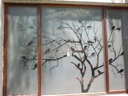 Sandblast Glass Designs Gallery Tree With Birds Sandblast Design In 2020 Room Door Design