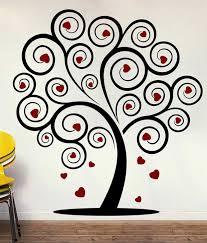 creative width love tree wall decal