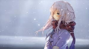 anime girls, white hair, blue eyes ...