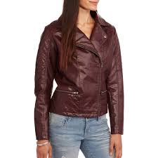 women s faux leather moto jacket with removable fur collar