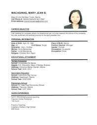 Resume Format For Job Amazing Simple Job Resume Format Layouts Examples Sample Job Resume Format