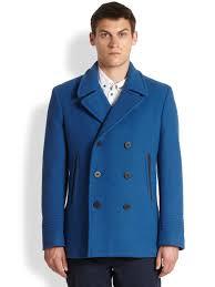 Mens Light Blue Peacoat Rushmore Wool Peacoat