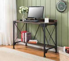 antique home office desk. Catalina Antique Walnut Metal \u0026 Wood Home Office Desk Workstation Table With Storage Shelf E