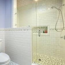 Blue Bathroom with Subway Tile Shower
