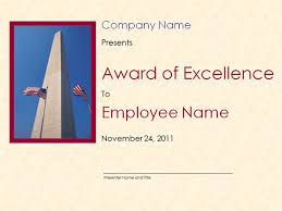 Award Of Excellence Certificate Template Excellence Award Certificate Template with Washington Monument 88