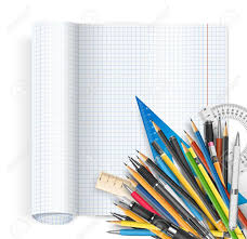 Back To School Theme Exercise Book With Math Spread And Twisted