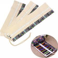 36/48 Holes Canvas Pencil Wrap Roll Up Pencil Case Pen Holder Bag Storage Q