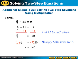 additional example 2b solving two step equations using multiplication