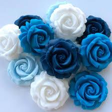 12 Blue White Roses Edible Sugar Paste Flowers Wedding Cake