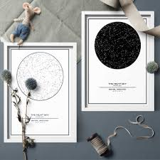 Hanging Celestial Chart Art Print Minimalism Black And White Custom Night Sky Star Map Canva