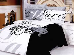 image of black and white french bedding