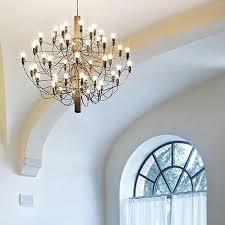 flos 2097 30 50 light bulbs suspension pendant chandelier chrome or brass by gino sarfatti