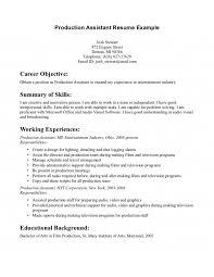 Sample Production Resume Production Assistant Resume Byu Edu With
