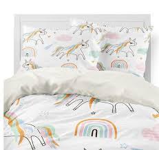 boho unicorn rainbow girl s bedding set