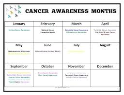 Cancer Color Chart Months Printable Cancer Awareness Color Chart Theflawedqueen Com