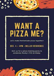 Pizza Party Invitation Templates Blue Yellow Orange Pizza And Memphis Pizza Party Invitation