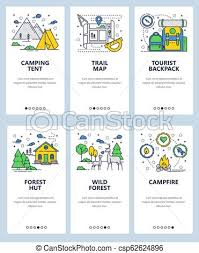 Camping Menu Template Vector Web Site Linear Art Onboarding Screens Template Outdoor Camping And Hiking Travel Backpack Campfire Forest Trail Menu Banners For Website
