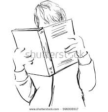 young man reading boy with book sketching
