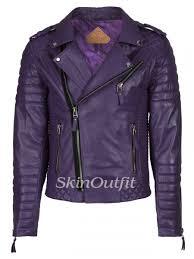 skinoutfit men s motorcycle leather jacket purple