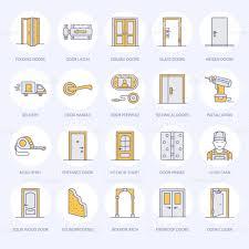 Decorating door types pics : Doors Installation Repair Line Icons Various Door Types Handle ...