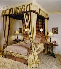 Elegant Beige Canopy Bed Curtain
