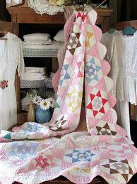 pretty vintage pink feedsack stars quilt cottage sweet romantic home vintage style single duvet covers vintage