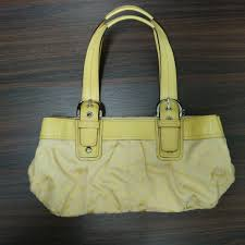 Coach Handbag Soho Pleated Signature Tote Bag in Yellow F13742 (100%  authentic), Luxury, Bags   Wallets, Handbags on Carousell