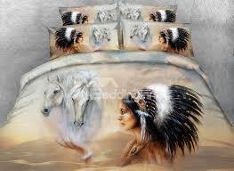 82 horse and american indian chief printed cotton 4 piece 3d bedding sets duvet covers