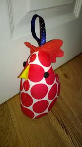 happy spotty hen as door stopper made from Spot and Stripes Capsule  collection fabrics by Docrafts