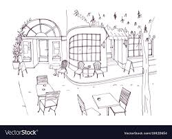 Monochrome rough sketch of european outdoor or Vector Image