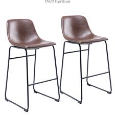 details about counter barstool vintage pu leather bar stools with back and footrest set of 2