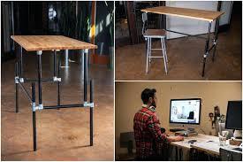homemade standing desk simple adjule standing desk diy standing desk pipe