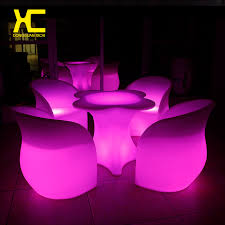 chargeable remote control lighted cordless led bar table chair set plastic hotel bar cafe glowing tables home garden furniture in bar furniture sets from